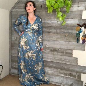 Vintage silk blue oriental kimono style dress